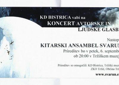 Kitarski ansambel SVARUN Koncert avtorske ljudske glasbe vabilo 3