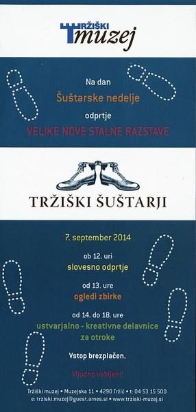 TM, Šuštarska nedelja v Tržiškem muzeju 2014, odprtje nove stalne razstave Tržiški šuštarji vabilo 3a