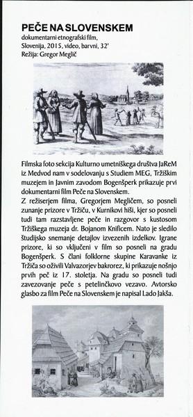 TM, Dokumentarni etnografski film Peče na slovenskem 2016 v okviru rednih mesečnih večerov SFA, avtor zloženke Bojan Knific zloženka 3b