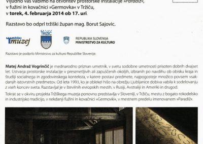 TM Germovka 2014 otvoritev prostorske instalacije Paradiž, Matej Andraž Vogrinčič vabilo 3b