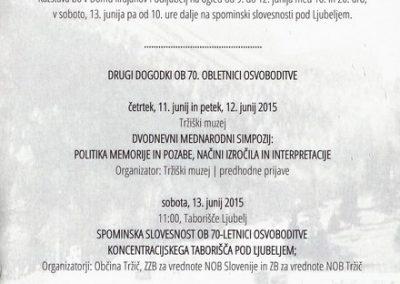 TM, Koncentracijsko taborišče Ljubelj jug, podružnica Mauthausna 2015 70 let vabilo 3b
