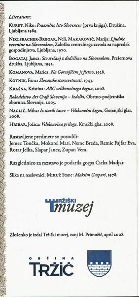 TM, Od žegna neso 2008 Razstava vezenih prtov, jerbasov in cekarjev zloženka 3f