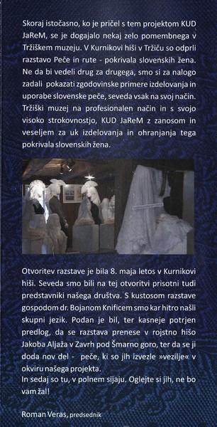 TM, Peče na slovenskem 2015 otvoritev razstave, avtor zloženke dr. Bojan Knific, zloženka 3d