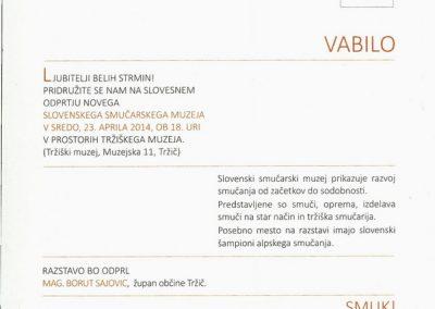 TM, Slovenski smučarski muzej 2014 vabilo na slovesno odprtje muzeja 3b