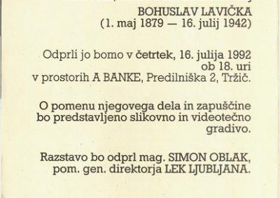 TM, ZKI 1992 BIBLIOFIL; LEKARNAR in ZBIRATELJ BOHUSLAV LAVIČKA vabilo na razstavo 3b