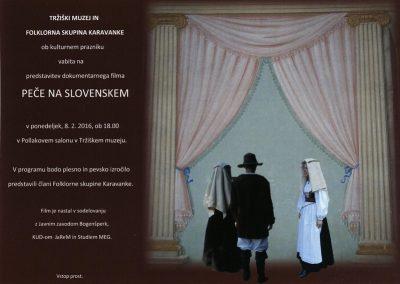 TM, kulturni praznik 2016, predstavitev dokumentarnega filma Peče na slovenskem vabilo 3