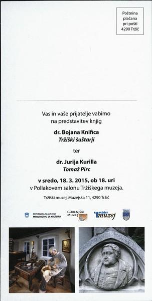 TM, predstavitev knjig 2015 dr. Bojan Knific Tržiški šuštarji, dr. Jurij Kurillo Tomaž Pirc vabilo 3b