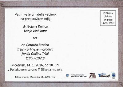 TM, predstavitev knjig 2016 dr. Bojan Knific Usnje vseh barv, dr. Gorazd Stariha Tržič v arhivskem gradivu fonda Občina Tržič (1860-1920) vabilo 3b