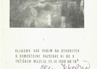 Tržiški muzej 1969 6. samostojna razstava Vilijem Jakopin vabilo 3a