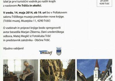 Tržiški muzej 2014 Turistični vodnik po naših krajih, Po Tržiču in okolici, predstavitev nove knjige vabilo 3b