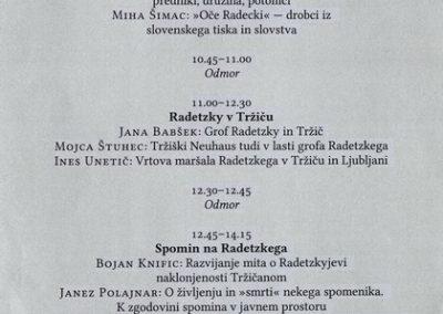 Tržiški muzej 2016 Znanstveni simpozij Ferdmaršal Radetzky, Jana Babšek, Bojan Knific program simpozija 3b